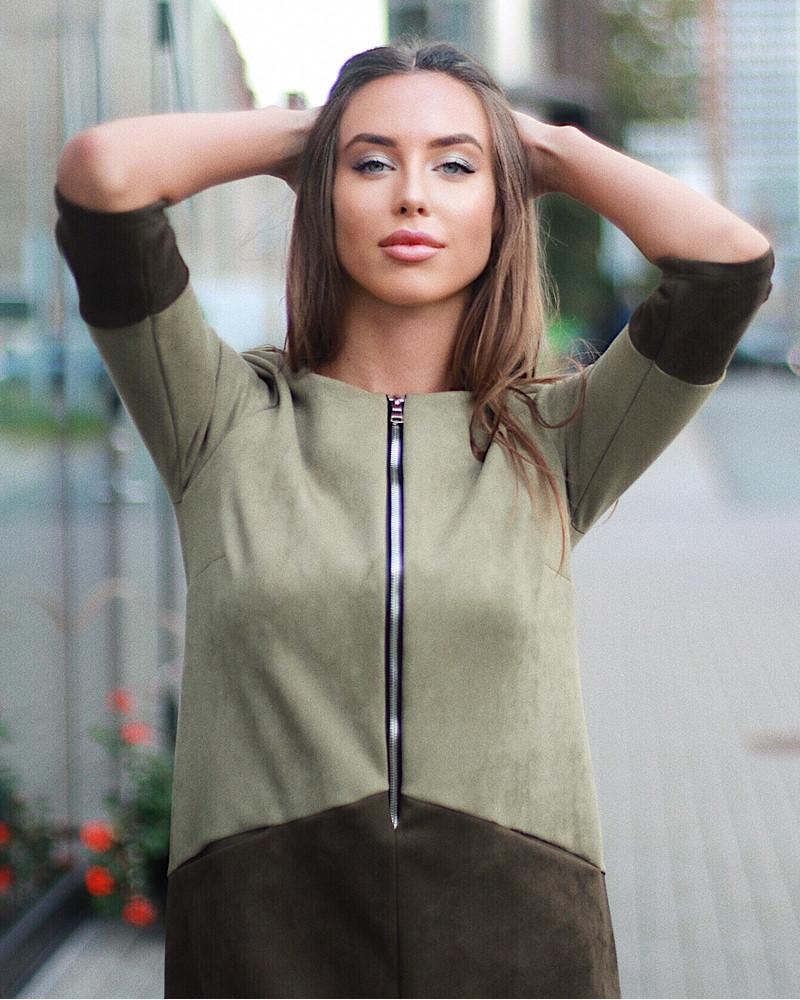 GREEN SUEDE ZIPPER DRESS