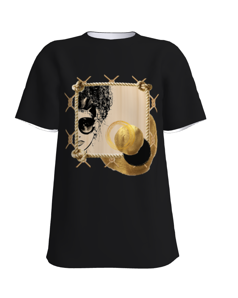 Golden goddess black t-shirt