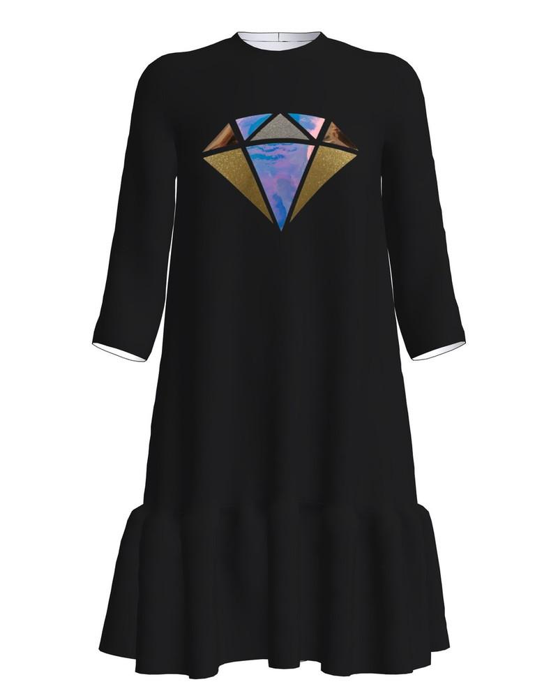 DIAMOND PRINT FRILL DRESS BLACK