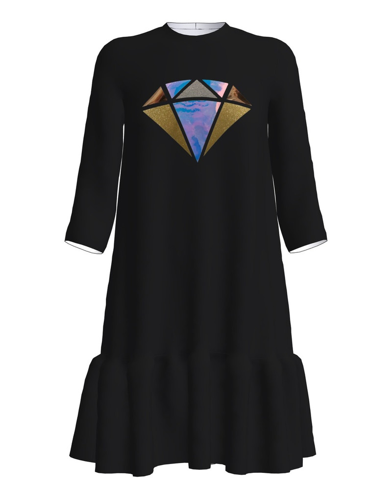 SHINY DIAMOND FRILL DRESS BLACK