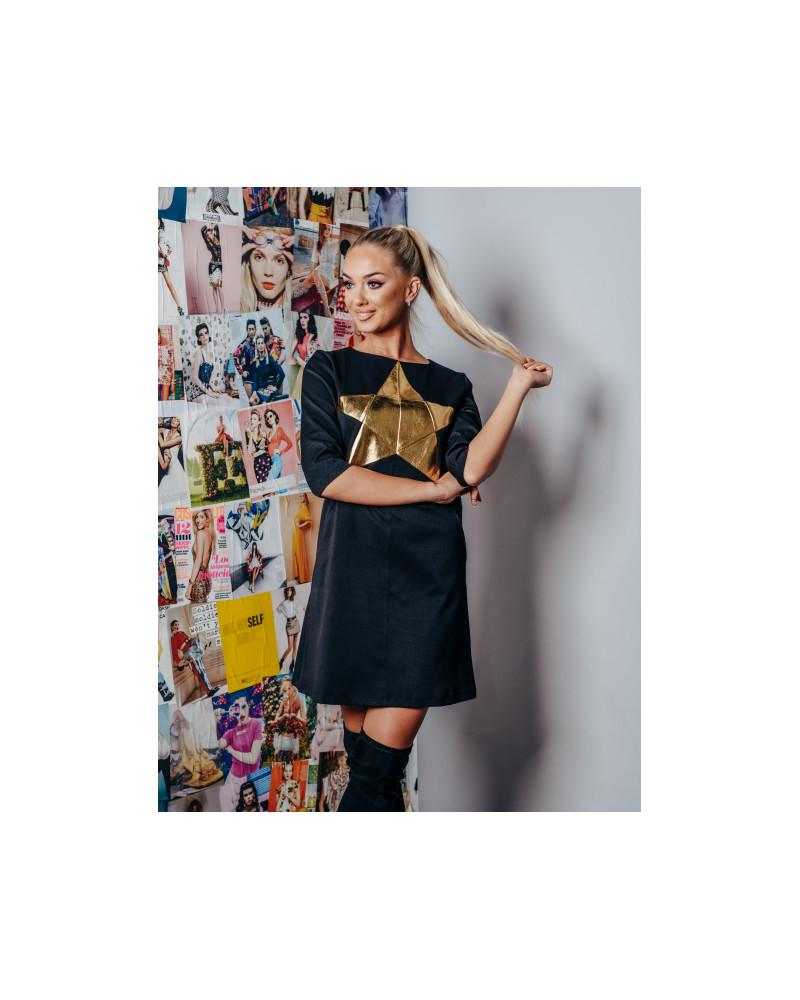 BLACK gold STAR DRESS