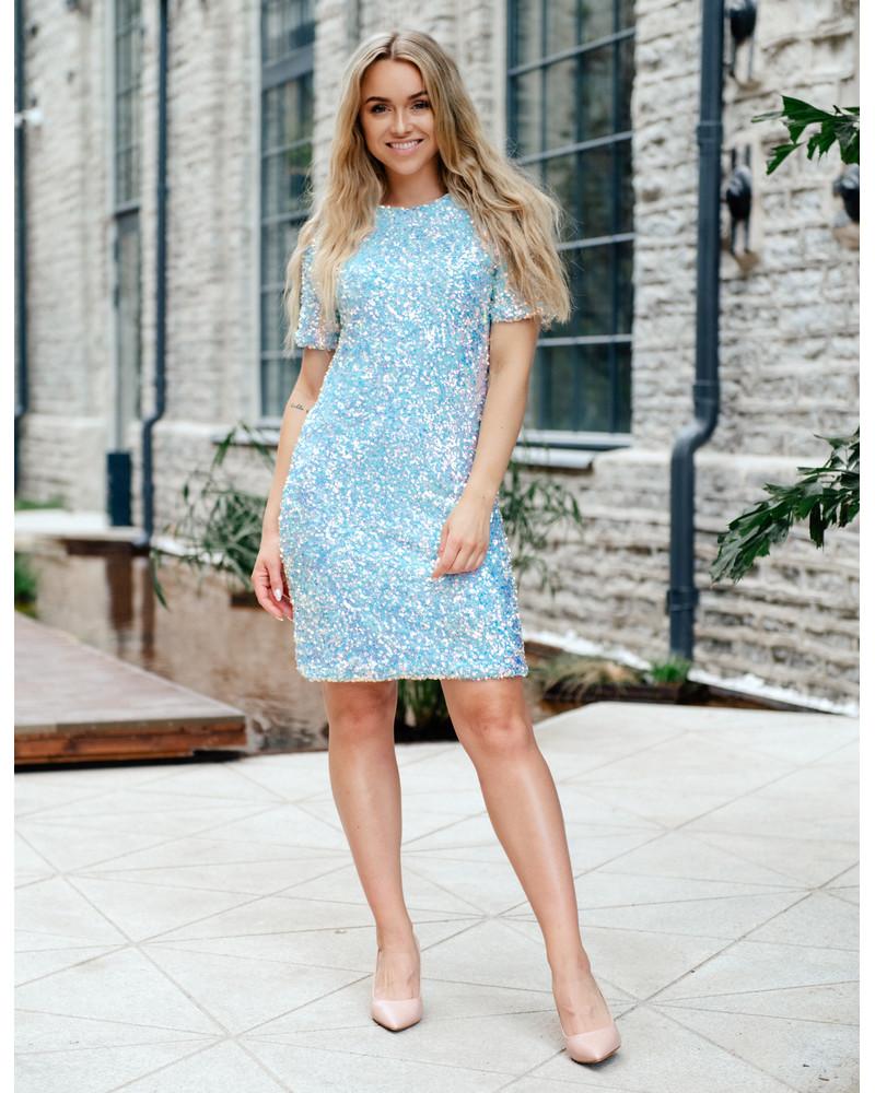 BLUE SEQUIN STRETCHY DRESS