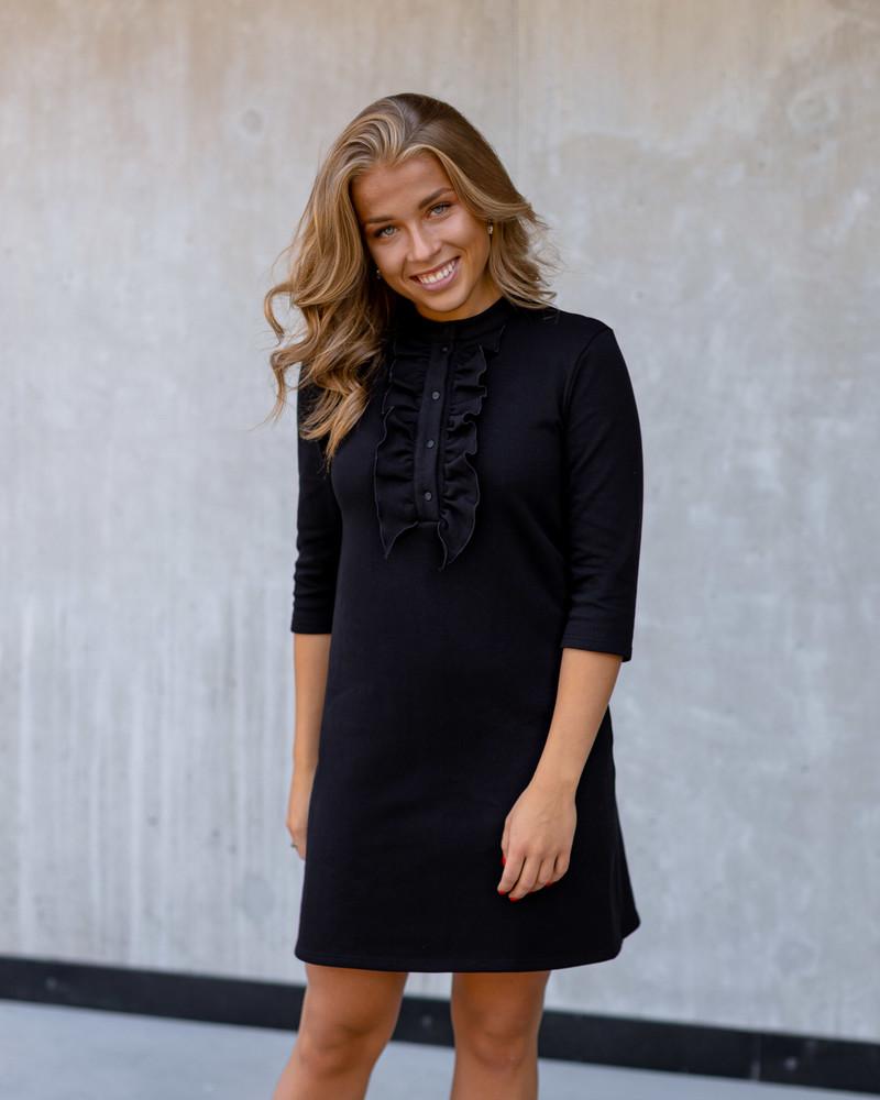 BLACK FRILL LINE DRESS