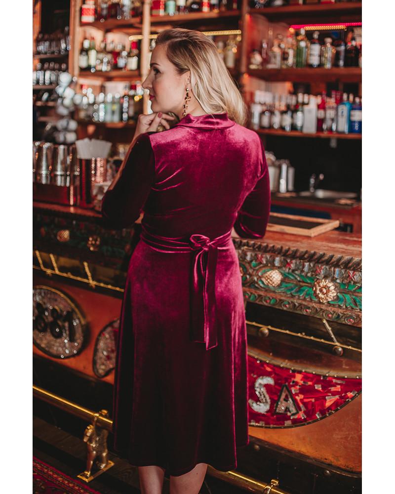 ELEGANT DRESS BURGUNDY VELVET