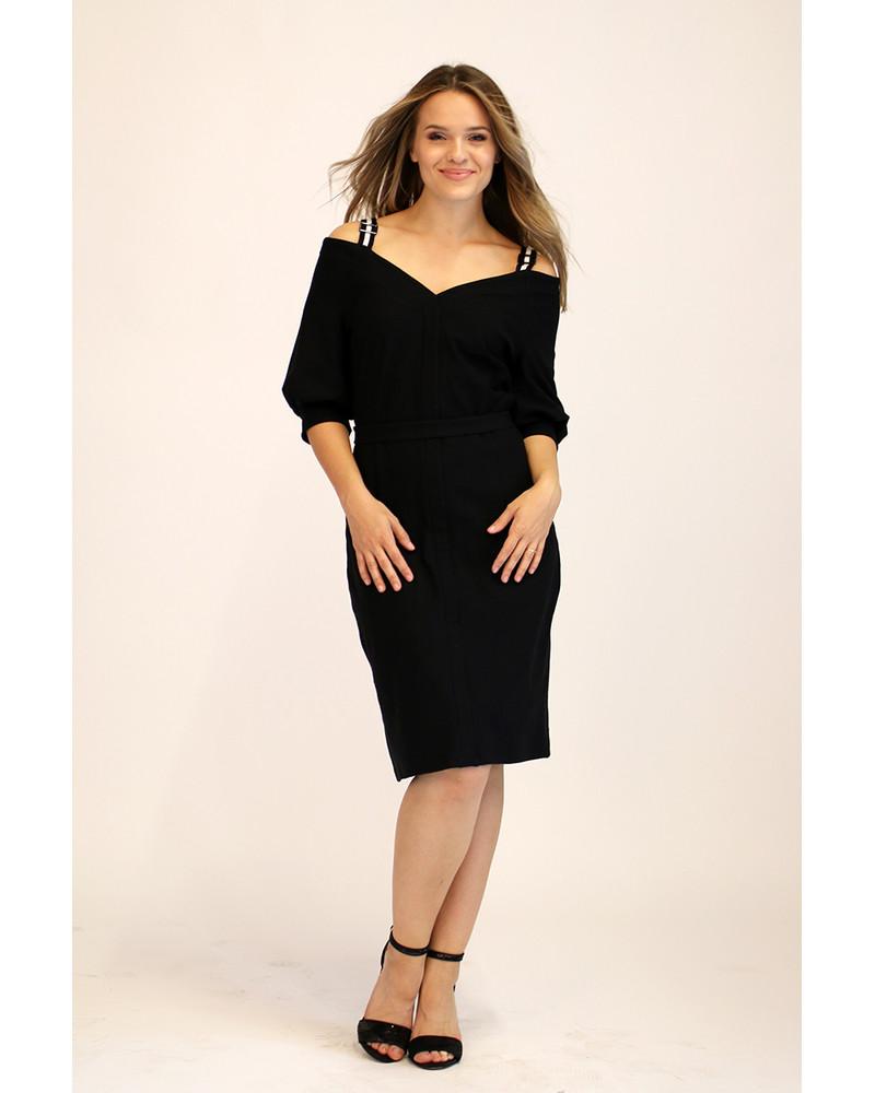 BLACK WIDE V-NECK DRESS