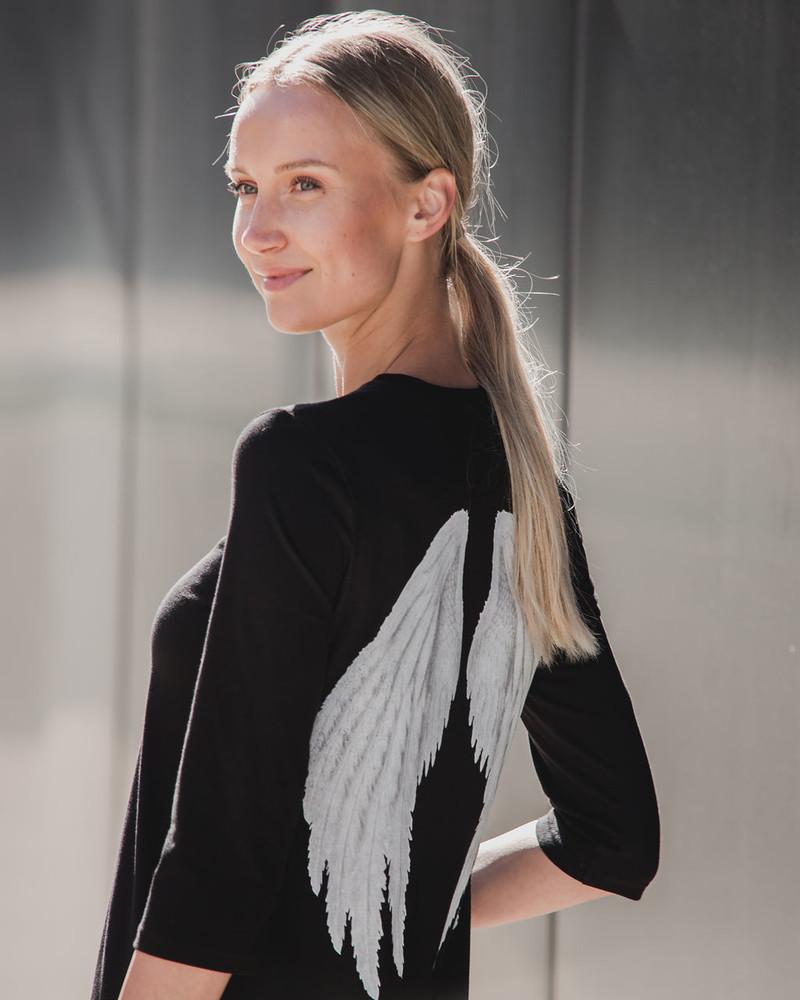 ANGEL PRINT FRILL DRESS BLACK