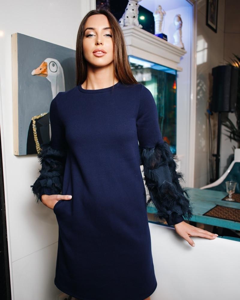 ALICE FRINGE POCKET SOFT DRESS NAVY BLUE