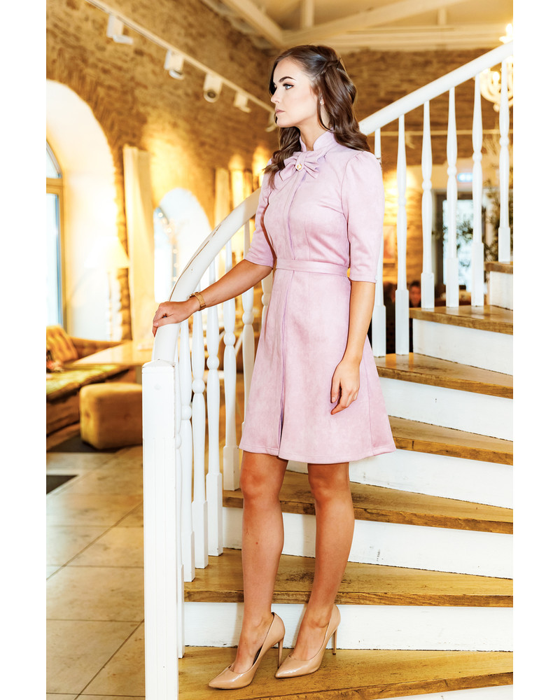 PINK BOW SUEDE DRESS