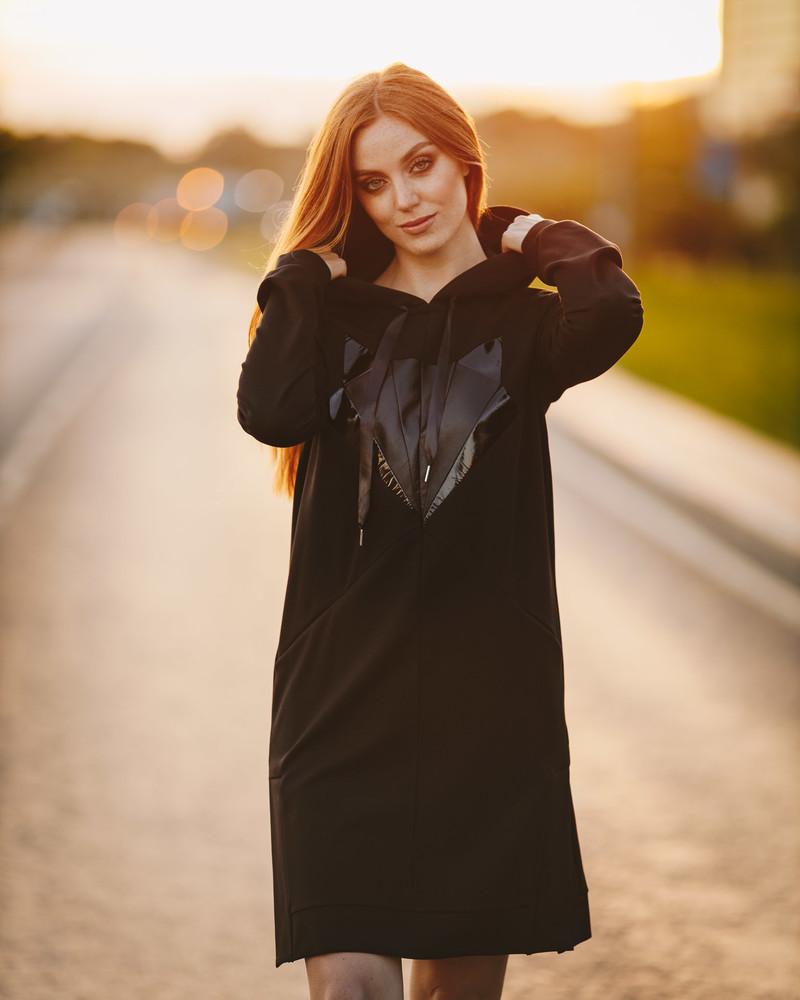 FOX HOODED DRESS LEATHER BLACK