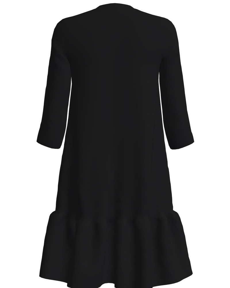 LEATHER BOW FRILL DRESS BLACK