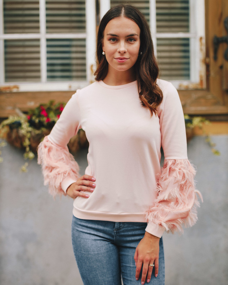 ALICE FRINGE SLEEVES SWEATSHIRT PEACHY