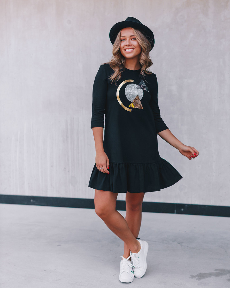 GREY SPARKLE GOLD ABSTRACT PRINT DRESS