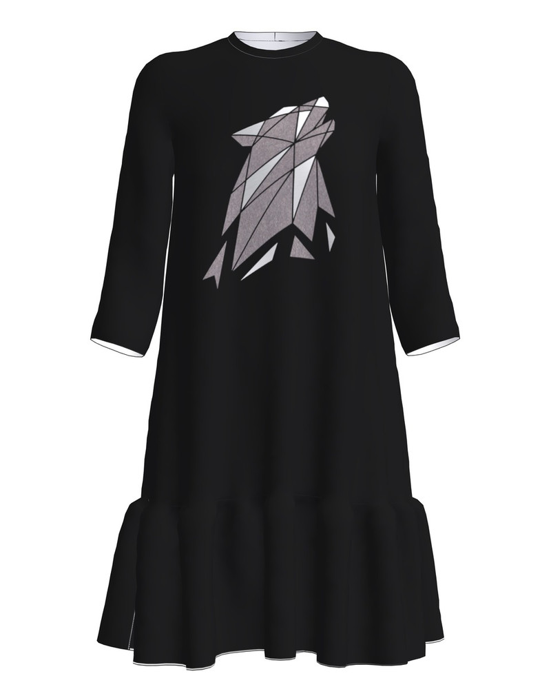 ABSTRACT WOLF FRILL DRESS BLACK