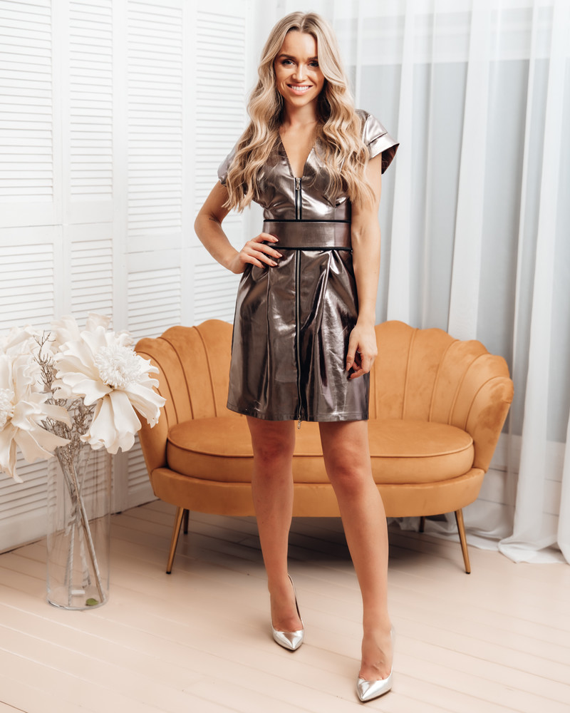 BOX PLEATED SILVER LEATHER DRESS