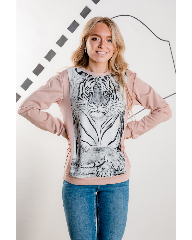 SLEEPING TIGER SWEATSHIRT LIGHT PINK