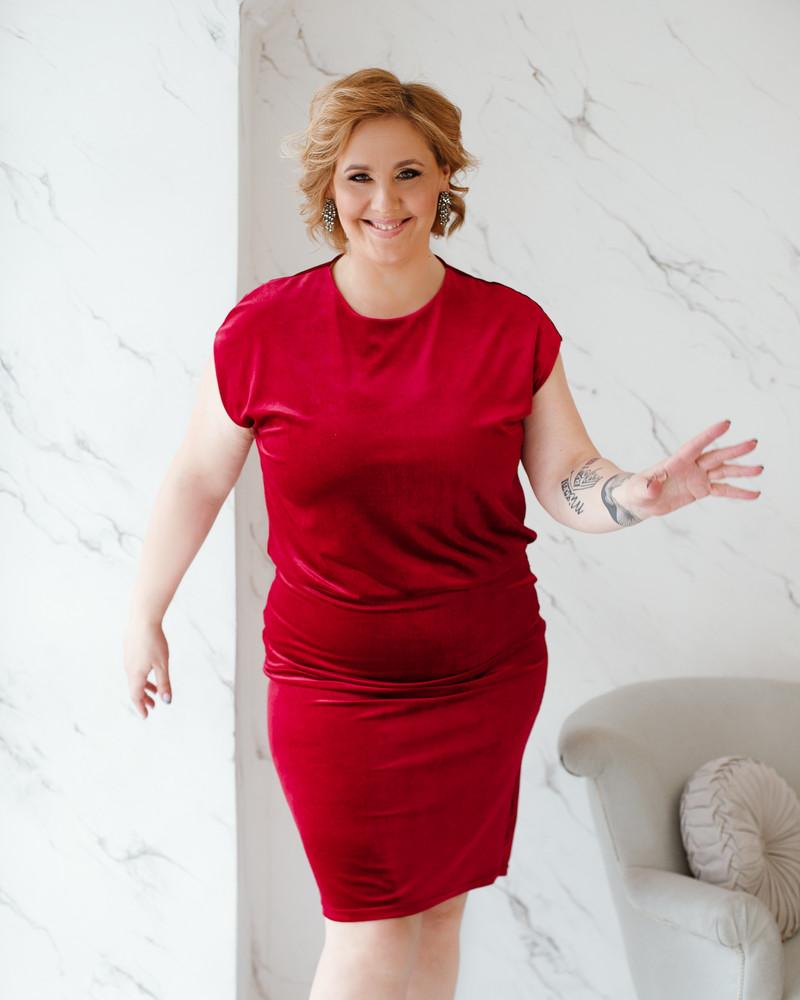 MERMAID DRESS VELVET RED