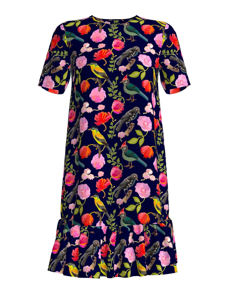 FLORAL HOLIDAY FRILL DRESS