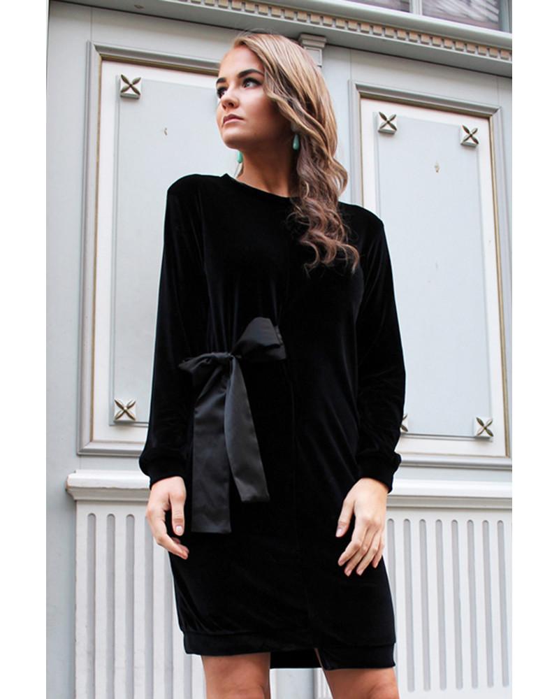 COOL CUT DRESS VELVET BLACK