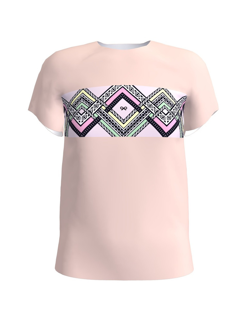 COLORFUL ETHNIC T-SHIRT LIGHT PINK