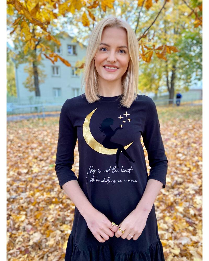 MOON WOMAN FRILL DRESS BLACK