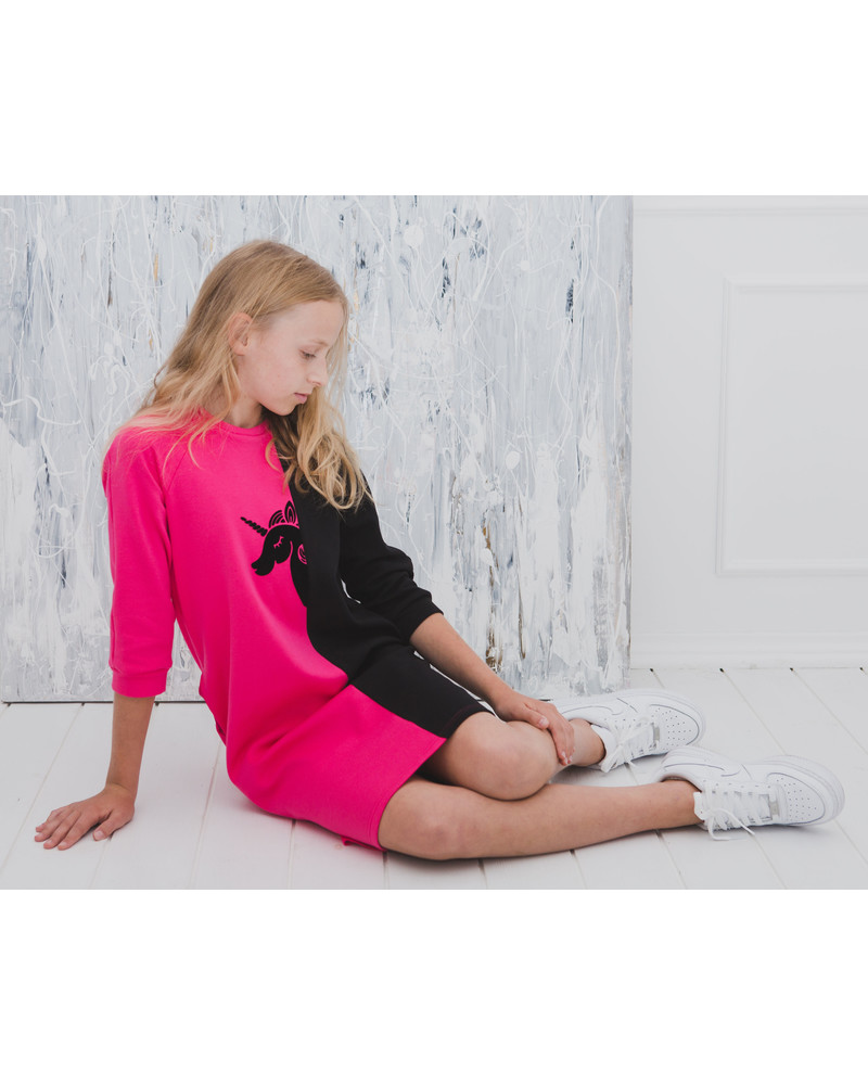UNICORN TWAIN KIDS SWEATER DRESS FUCHSIA