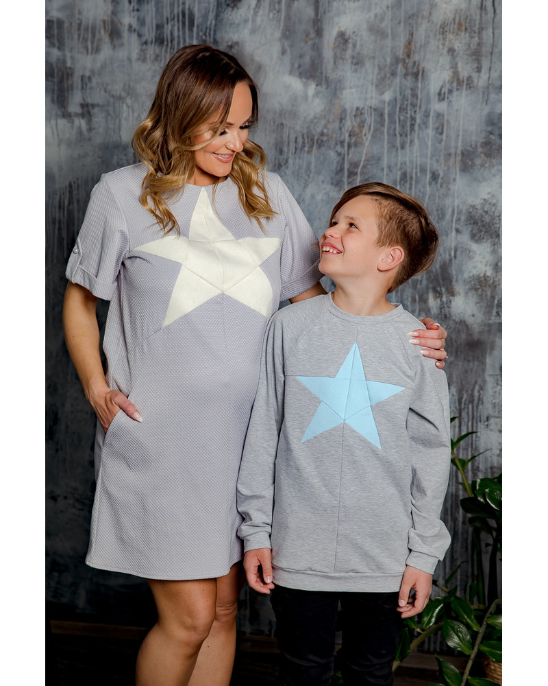 CREAM STAR GREY DRESS