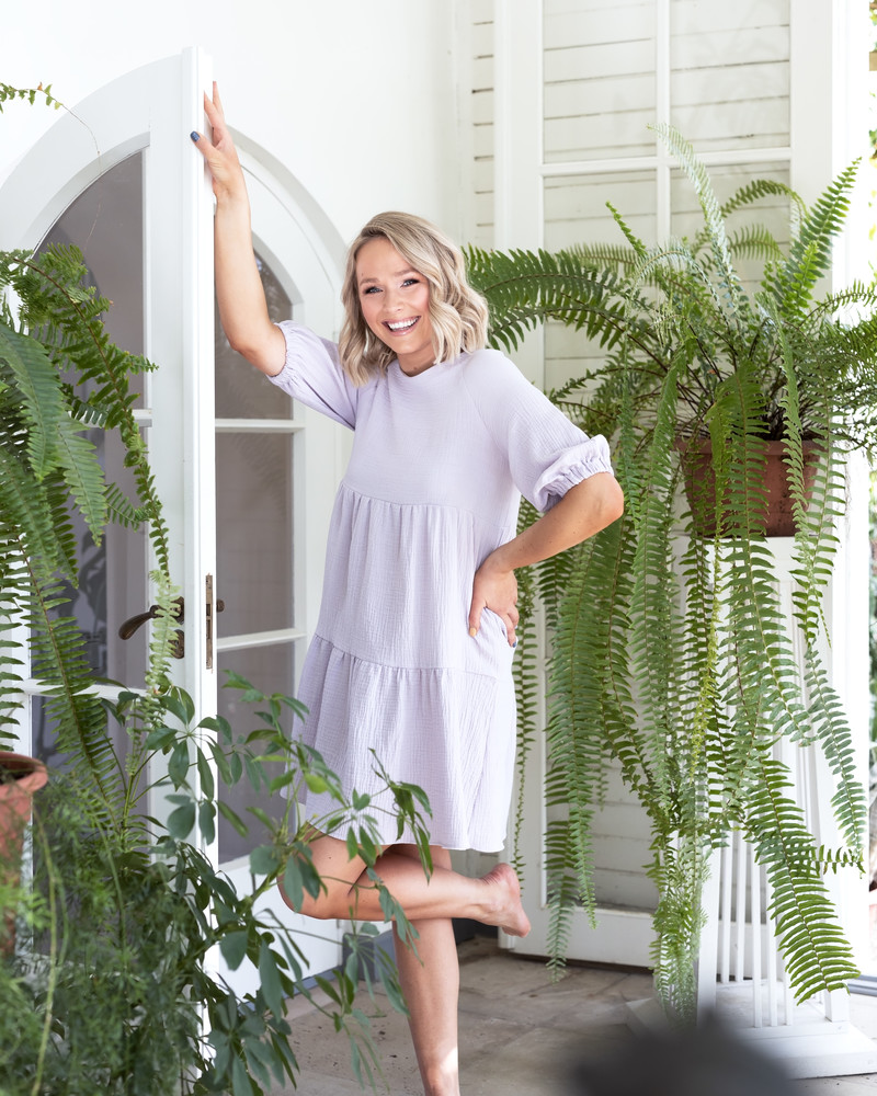 BOHO RUFFLE DRESS LILAC