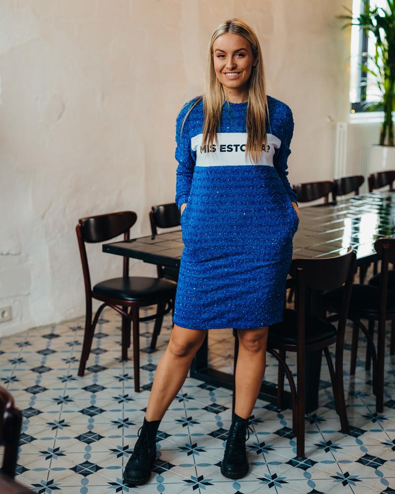 MIS ESTONIA? BLUE SHINY KNIT DRESS