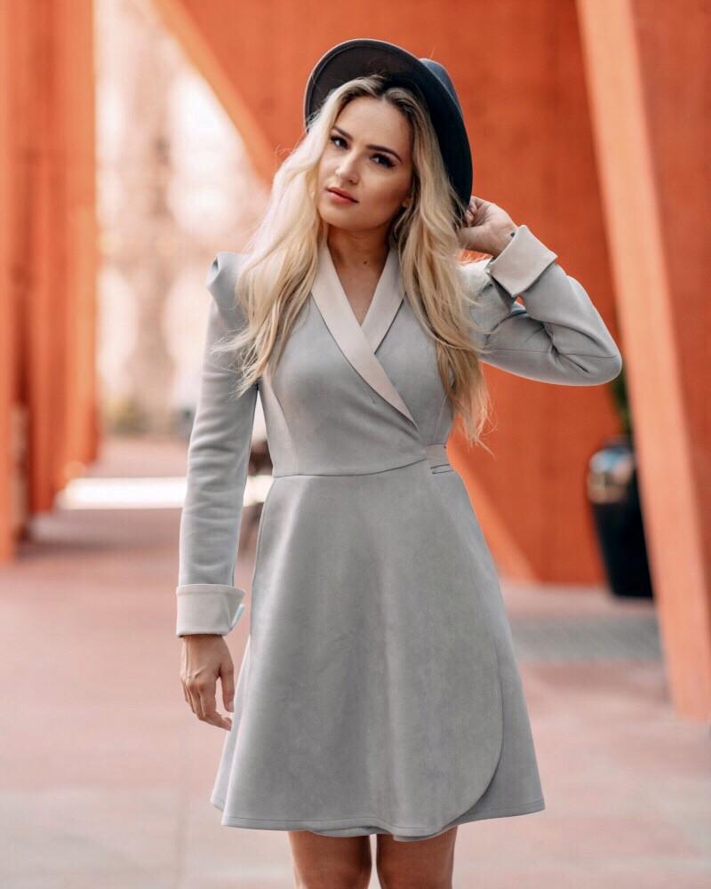 LIGHT GREY SUEDE MOON DRESS