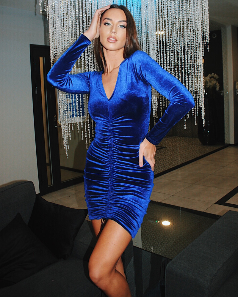 TUNNEL VELVET DRESS ELECTRIC BLUE