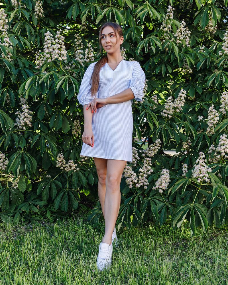 WHITE STRIPE PUFF DRESS BLUE
