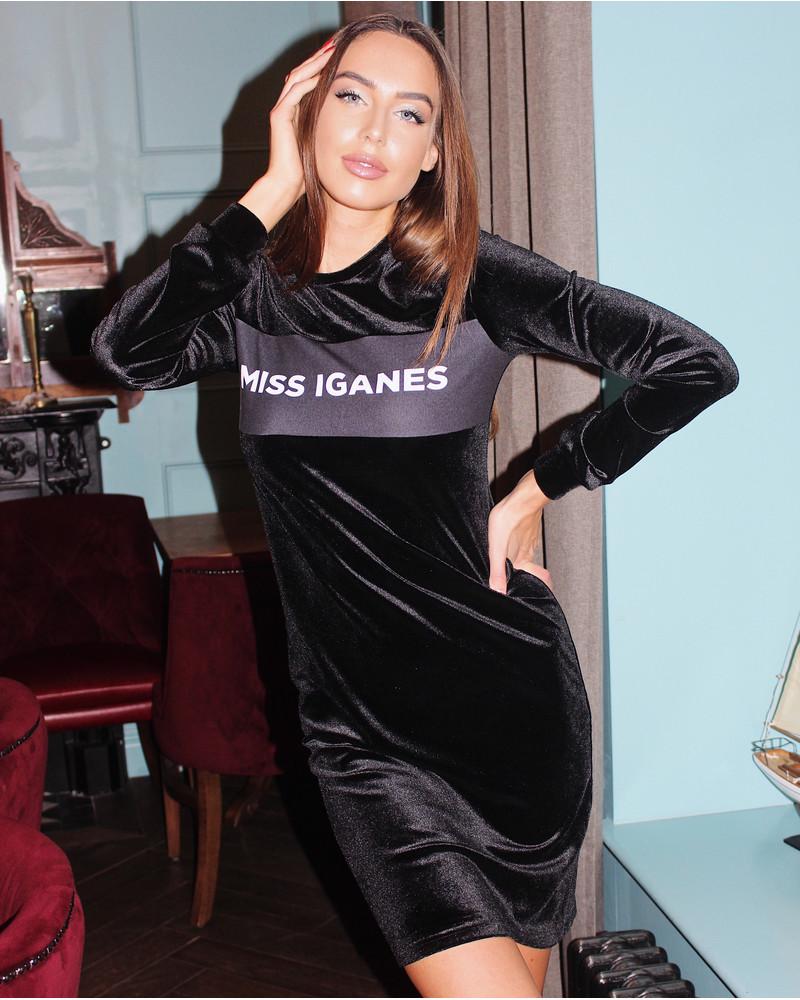 MISS IGANES VELVET DRESS BLACK