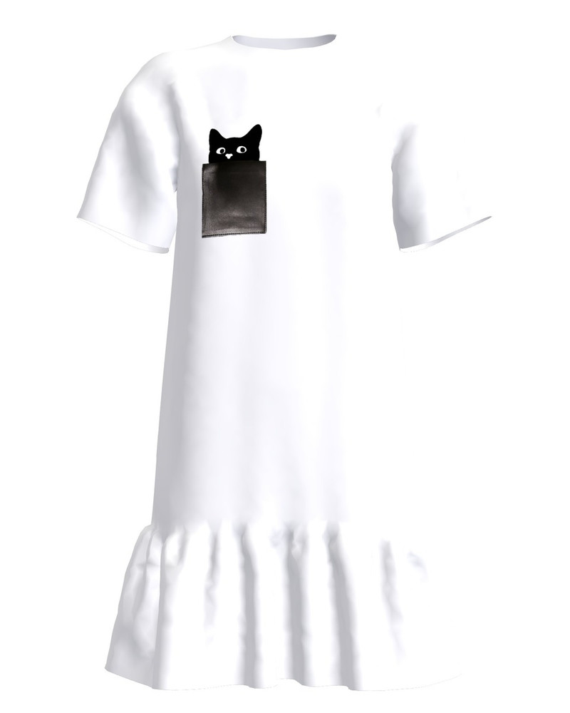 KITTY FRILL DRESS WHITE