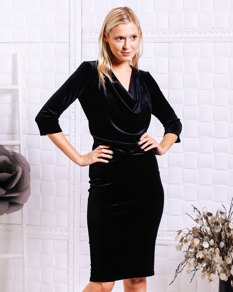 COWL NECK VELVET DRESS BLACK