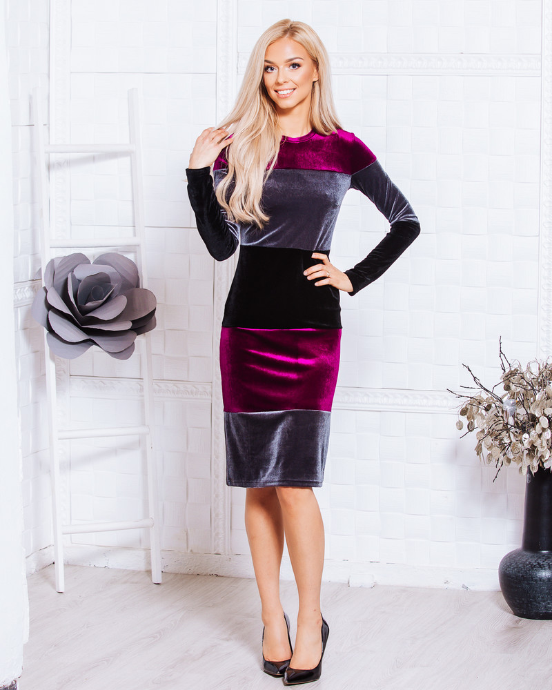 BLOCKS VELVET DRESS BORDEAUX-GREY-BLACK