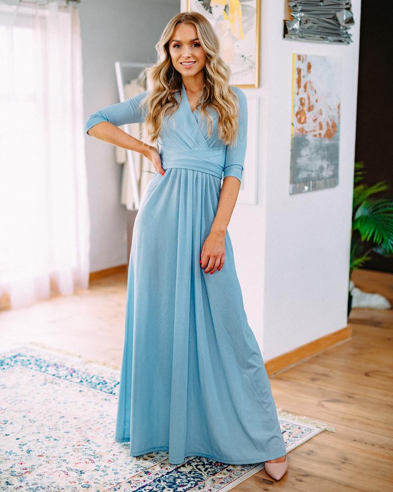 BLUE SPARKLING ELEGANT MAXI DRESS