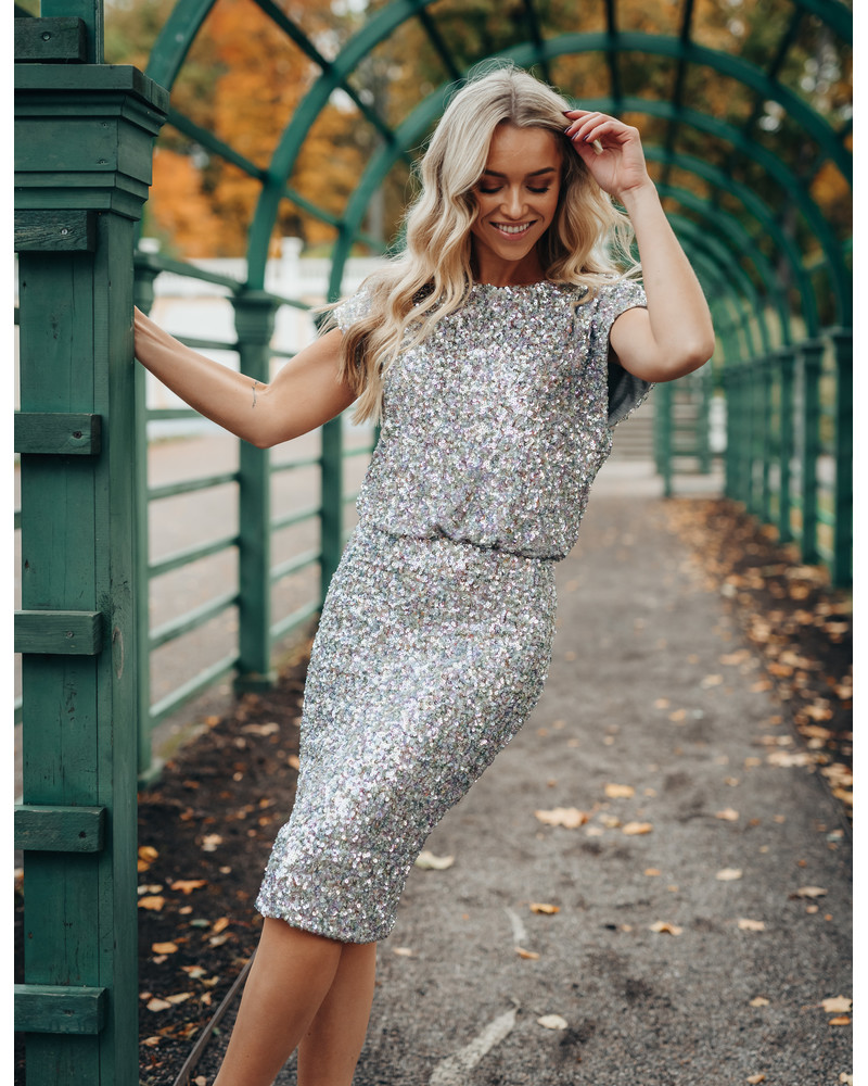 MERMAID SEQUIN DRESS SILVER