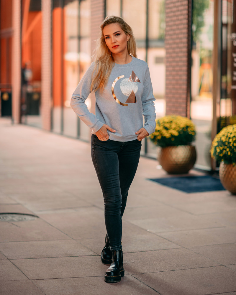 GREY SPARKLE GOLD ABSTRACT  PRINT SWEATER