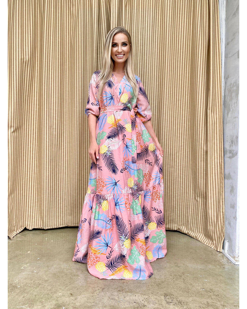 SUMMER COMET MAXI DRESS PINK COLORFUL