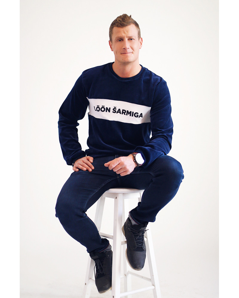 CUSTOM SLOGAN - NAVY SWEATER