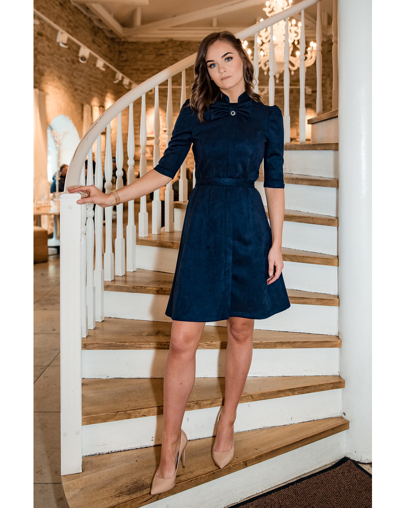 NAVY BOW SUEDE DRESS