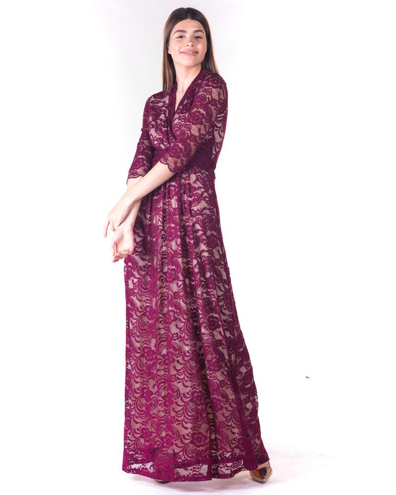 ELEGANT MAXI DRESS BURGUNDY LACE