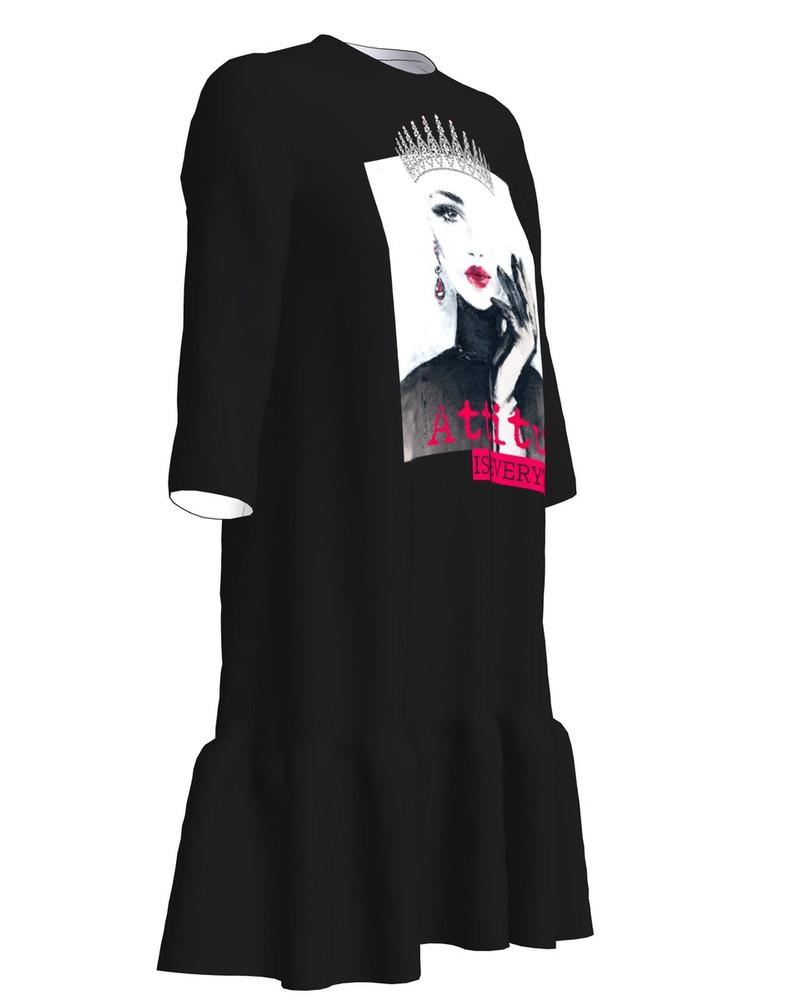 ATTITUDE Dress Frill Black