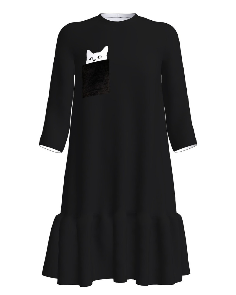 KITTY PEEK A POO PRINT FRILL DRESS BLACK
