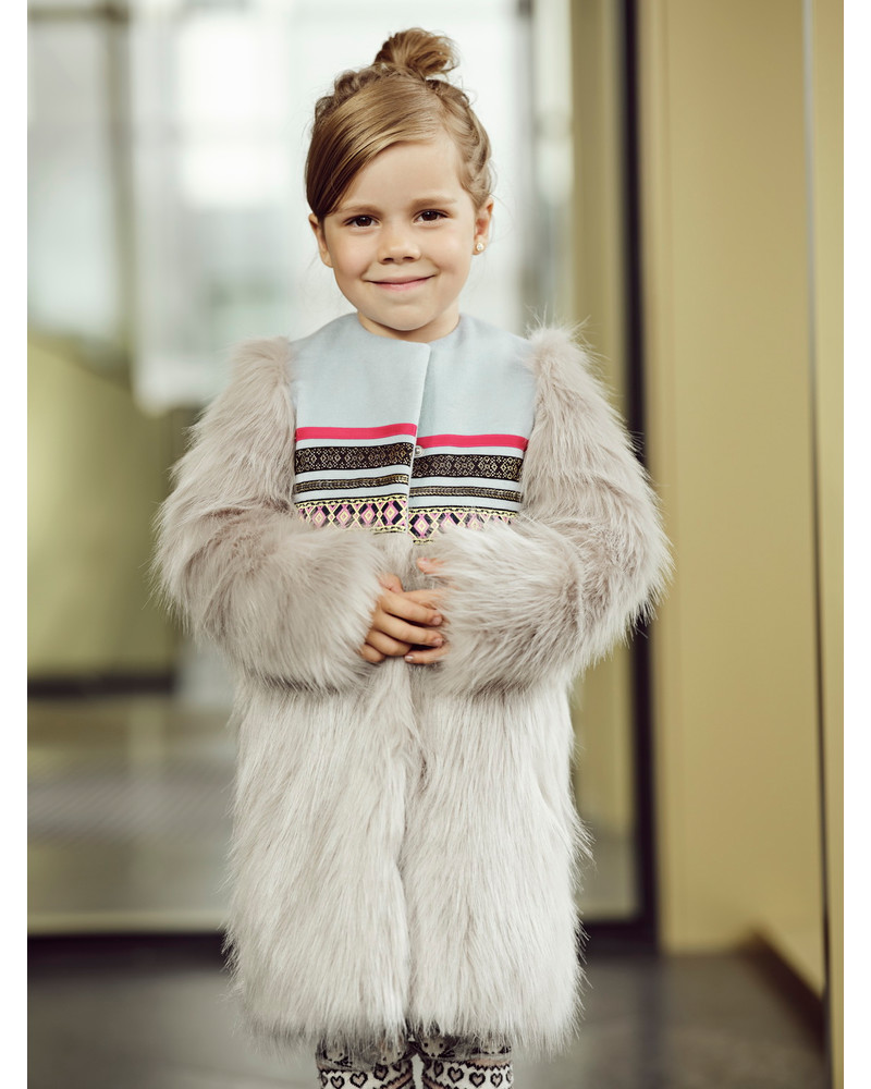 ETHNIC GREY FAUX FUR COAT KIDS