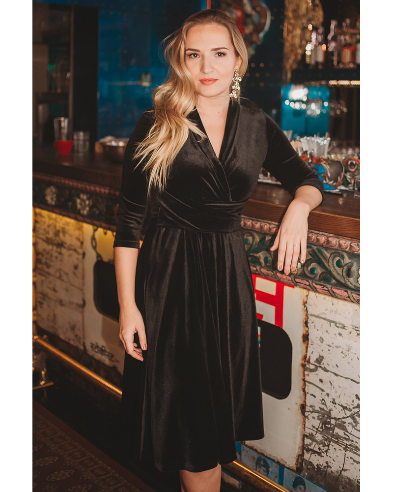 ELEGANT MIDI DRESS BLACK VELVET