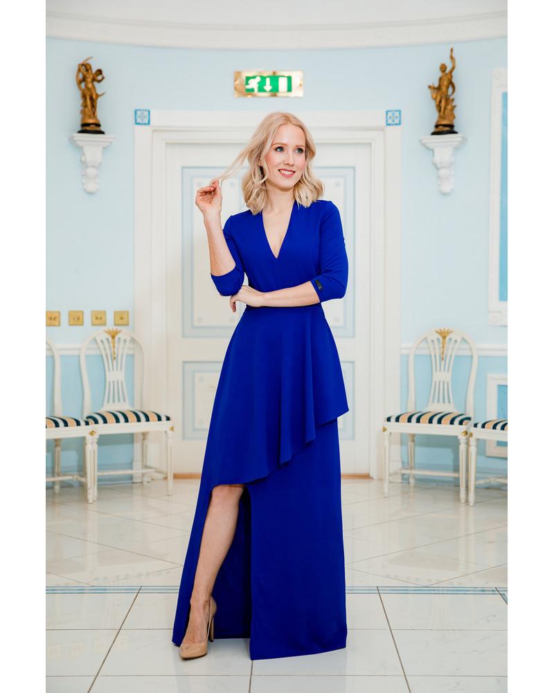 ASYMMETRIC BLUE MAXI DRESS