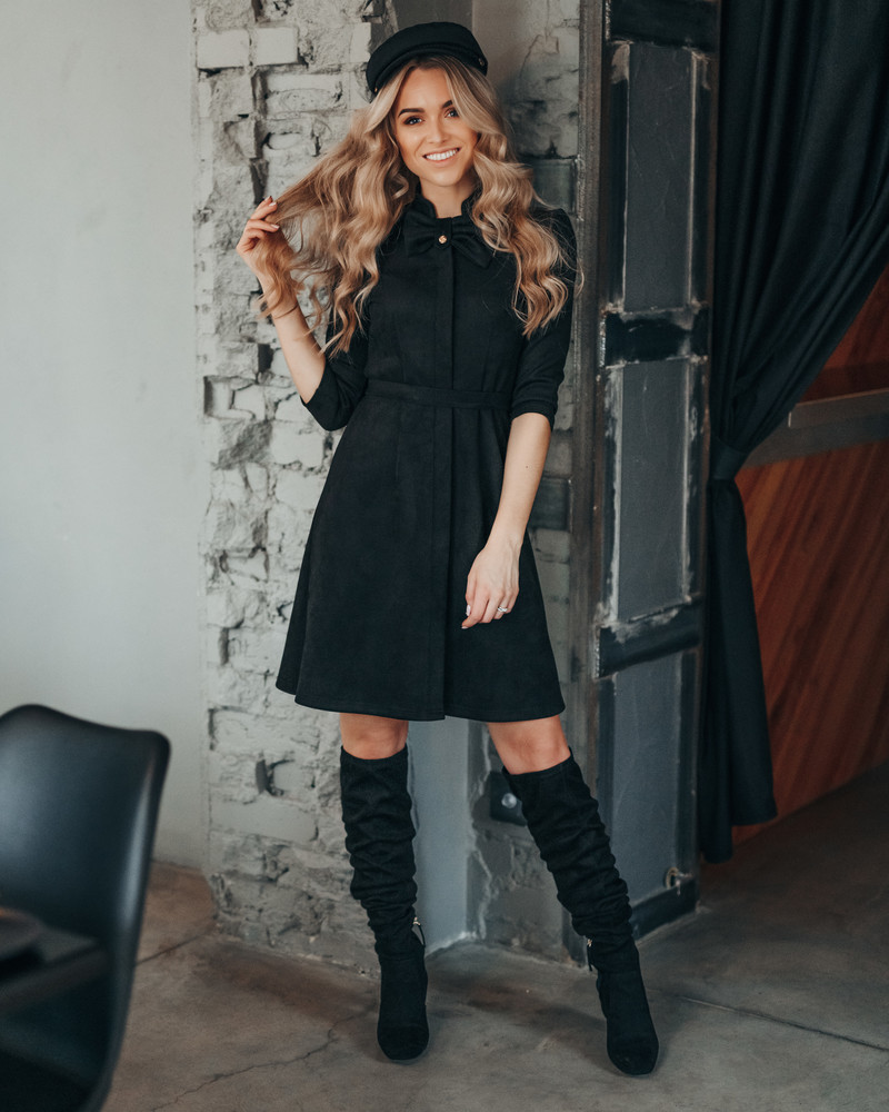 BOW SUEDE DRESS BLACK