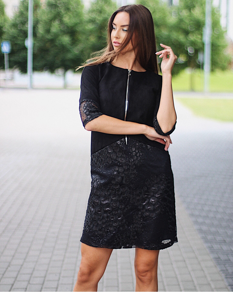 ZIPPER DRESS SUEDE LACE BLACK