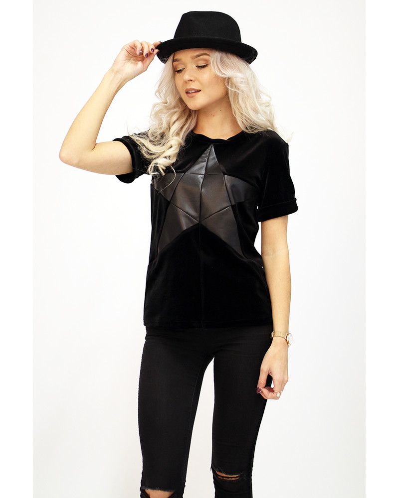 BLACK STAR BLACK VELVET T-SHIRT